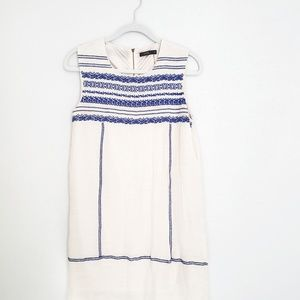 THML Blue embroidery on white dress size medium.